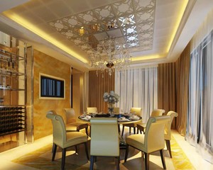 简欧风格大户型精致餐厅吊顶设计装修效果图