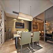后现代风格餐厅推拉门设计装修效果图