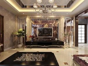欧式风格大户型室内客厅电视背景墙效果图