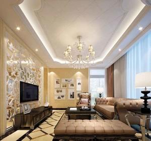 欧式风格大户型室内客厅电视背景墙装修效果图