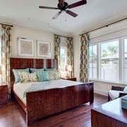 复古美式风格卧室窗帘装修效果图