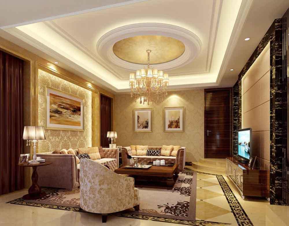 欧式风格大户型室内客厅圆形吊顶装修效果图
