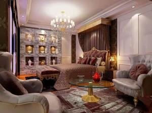 40平米欧式风格奢华卧室背景墙装修效果图
