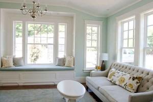 清新美式风格浅色飘窗设计装修效果图