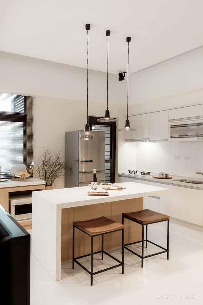 后现代风格大户型开放式厨房吧台装修效果图