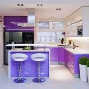 现代简约风格两居室开放式厨房吧台装修效果图