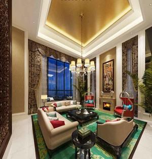 新古典主义风格别墅室内客厅吊顶设计装修效果图