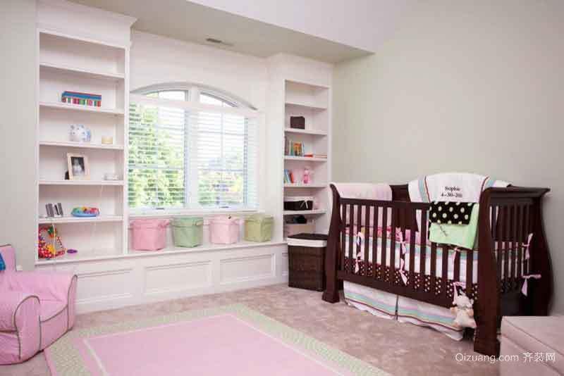 简欧风格温馨粉色婴儿房设计装修效果图
