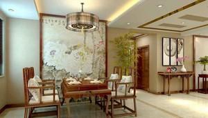 中式风格精致雅趣餐厅背景墙装修效果赏析