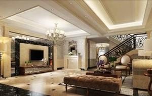 欧式风格复式楼室内客厅电视背景墙装修效果图赏析