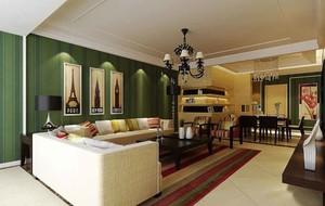 美式混搭风格室内客厅装修效果图