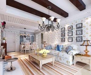 田园风格大户型室内客厅吊顶设计装修效果图