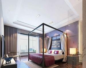 现代风格精致典雅女生卧室背景墙装修效果图
