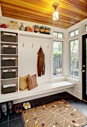 现代简约美式风格大户型进门玄关鞋柜装修效果图