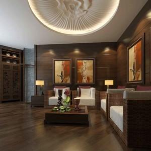 中式风格大户型室内客厅背景墙装修效果图赏析