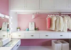 简欧风格粉色温馨儿童房衣柜设计装修效果图