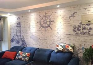 美式风格两居室室内客厅背景墙装修效果图鉴赏