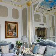 新古典主义风格别墅室内客厅背景墙装修效果图