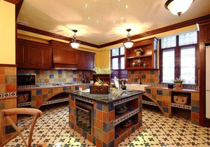 复古美式风格别墅室内整体厨房设计装修效果图赏析