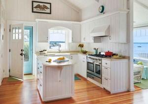 清新美式风格简约开放式厨房设计装修效果图