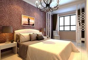 简欧风格三居室室内卧室背景墙装修效果图