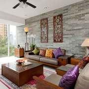 中式风格两居室客厅背景墙装修效果图