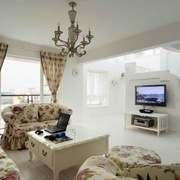 欧式田园风格复式楼客厅电视背景墙装修效果图