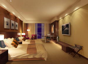 50平米新中式风格宾馆客房装修效果图赏析