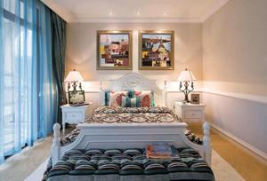 地中海风格三居室卧室窗帘设计装修效果图