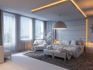 欧式风格大户型温暖浅色卧室背景墙装修效果图