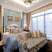 欧式风格别墅室内卧室窗帘装修效果图赏析