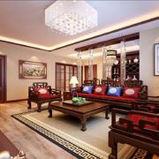 中式风格大户型室内客厅吸顶灯装修效果图
