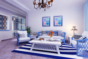 地中海风格简约两室两厅室内装修效果图赏析