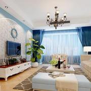 地中海风格三居室客厅电视背景墙装修效果图