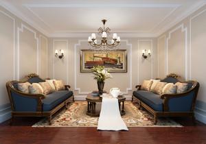 169平米复古美式风格大户型室内装修效果图赏析