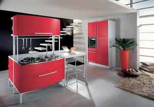 现代简约风格中国红厨房装修效果图大全赏析