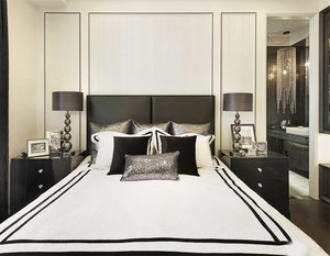 后现代风格三居室卧室背景墙装修效果图赏析