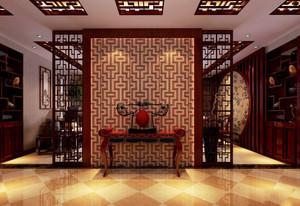 中式风格大户型客厅玄关隔断设计装修效果图赏析
