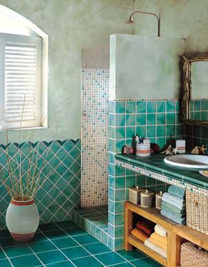 地中海风格两居室室内卫生间瓷砖设计装修效果图