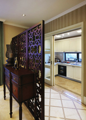 新中式风格大户型室内厨房隔断装修效果图