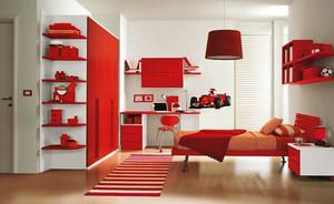 现代简约风格中国红儿童房装修效果图大全