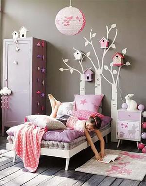 简欧风格梦幻主题粉色公主房儿童房装修效果图