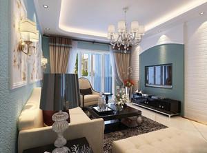 欧式风格三居室精美客厅电视背景墙装修效果图