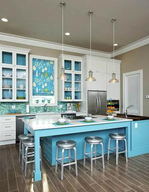 清新美式风格别墅开放式厨房吧台装修效果图