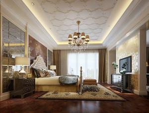 宫廷风欧式风格别墅室内卧室电视背景墙装修效果图