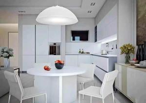 现代简约风格小户型纯白厨房餐厅装修效果图