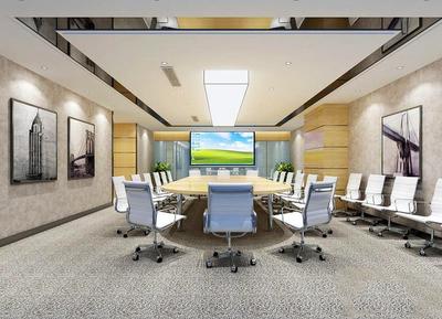 90平米现代简约风格会议室背景墙装修效果图赏析