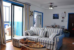 70平米地中海风格两室一厅室内装修效果图案例