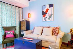 80平米时尚色彩混搭风格婚房装修效果图案例
