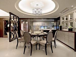 古典欧式风格大户型室内餐厅圆形吊顶装修效果图